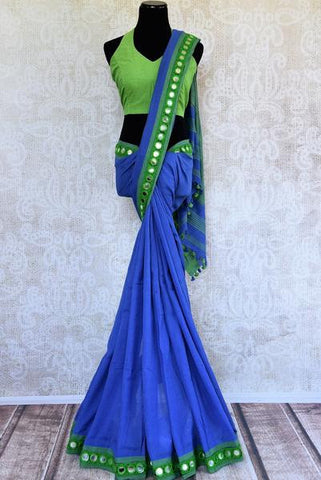 Blue Linen Sari with Halter Neck Blouse