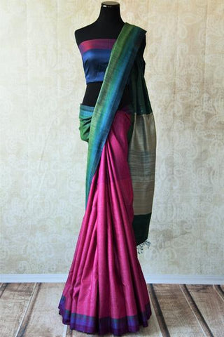 Magenta and Green Pashmina Silk Sari