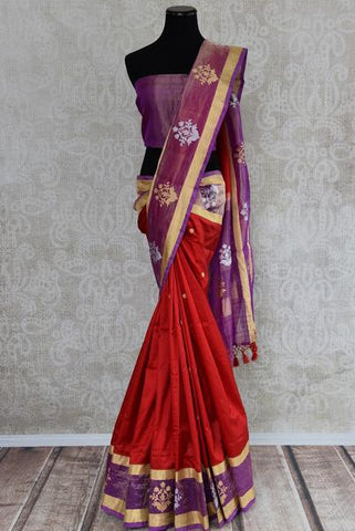 Red Silk Saree with Tissue Border
