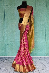 Heavy Pink Kanchipuram Silk Saree for Tamilian Bride