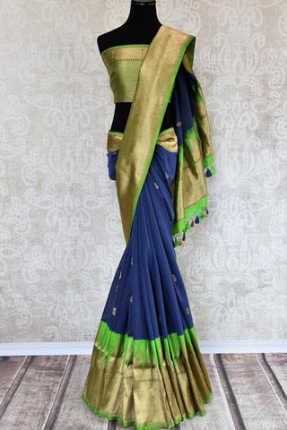 Blue and Green Banarasi Linen Saree