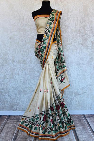 White Kantha Work Saree