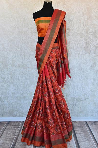 Red and Orange Thread Work Saree