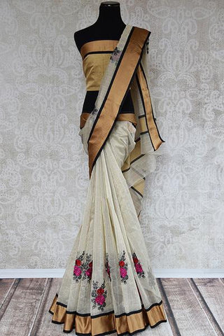 White and Gold Embroidered Linen Saree