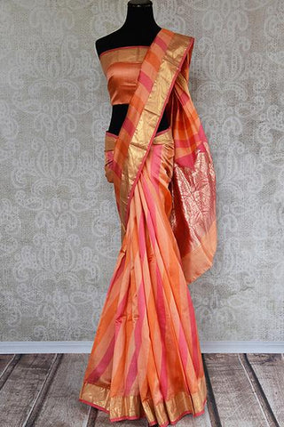 Striped Muga Banarasi Sari