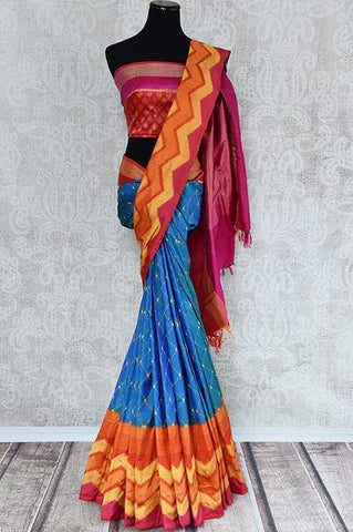 Blue Ikkat Saree with Multicolor Border