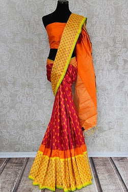 Pink and Yellow Ikkat Saree for Puja