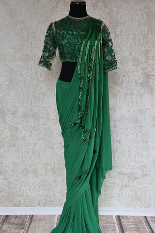 Green Sequin Saree