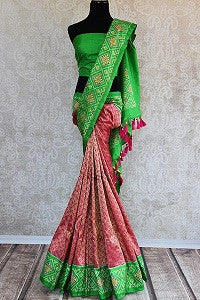 Kanjivaram Sari with Ikkat Border
