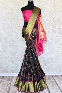 Black Kanjeevaram Saree with Checker Pattern