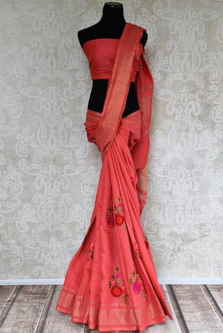 Pink Linen Saree with Thread Embroidery