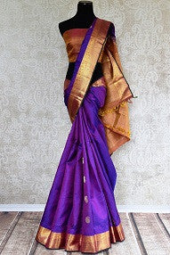 Purple Kanchipuram Silk Saree for Wedding and Reception