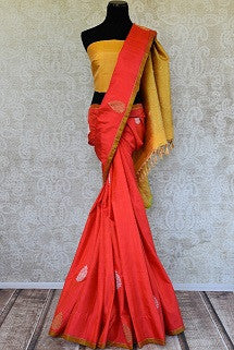 Orange Kanjeevam Sari for Puja and Festivals