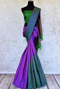 Purple and Green Kanjivaram Saree for Get-Togethers