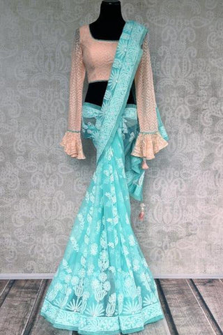 Blue Lucknowi Chikan Embroidery Saree