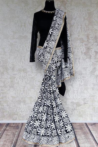 Black Lucknowi Chikankari Saree
