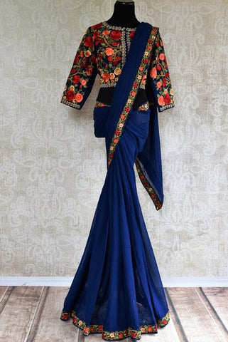 Blue Thread Work Saree