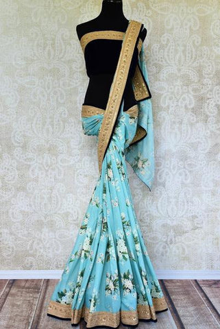 Blue Floral Printed Saree with Embroidery