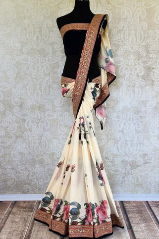 White Floral Print Zardozi Work Saree