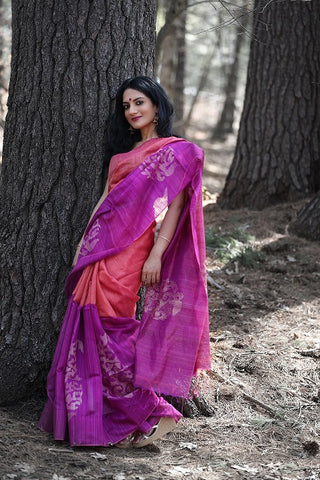 Handwoven Silk Saree with Embroidered Blouse