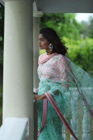 Green Floral Organza Saree with Embroidery