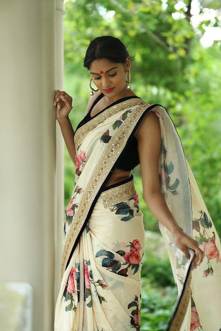 Off White Floral Print Embroidered Saree