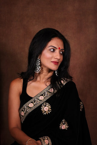 Black Velvet Sari with Embroidery