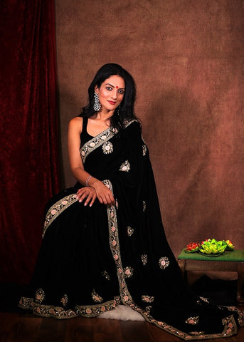 Black Velvet Embroidered Saree