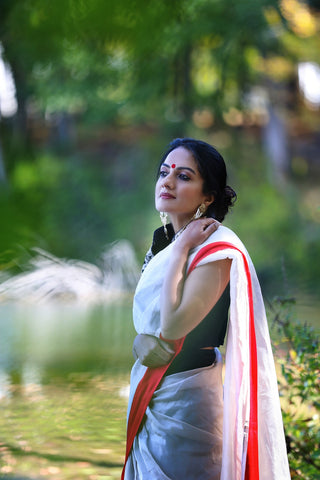 White Sari with Red Border