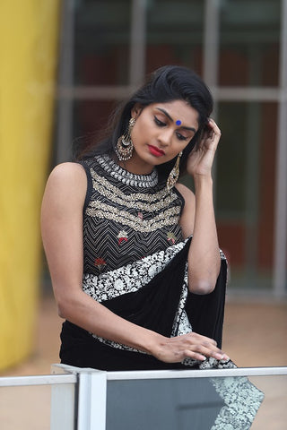 Black Velvet Saree with Designer Blouse