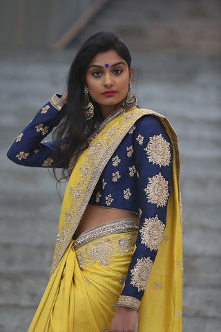 Yellow Embroidered Saree with Blue Blouse