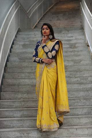Yellow Embroidered Silk Saree