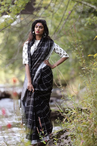 Black and White Linen Sari