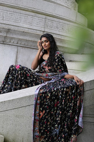 Black Printed Crepe Saree