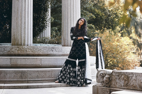 Black and White Embroidered Sharara Suit