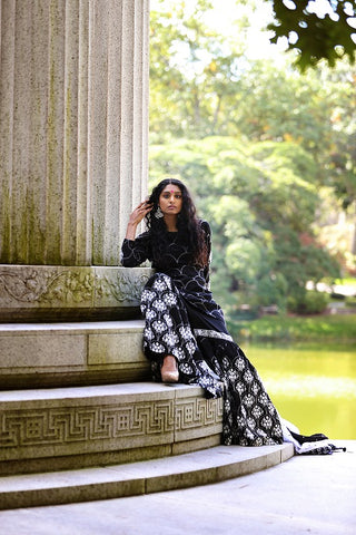 Black and White Sharara Suit