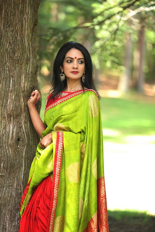 Green Muga Banarasi Saree with Red Embroidered Blouse