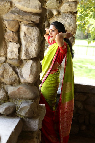 Green Muga Banarasi Sari with Buta and Red Embroidered Blouse