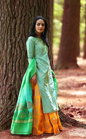 Green Silk Kurta with Yellow Banarasi Skirt