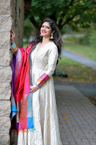Beige Anarkali with Benarasi Dupatta