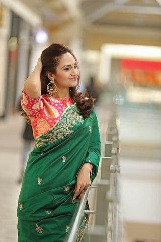 Green Silk Saree with Tikki Embroidery and Banarasi Blouse