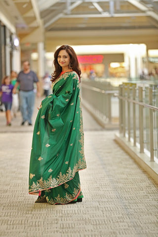 Green Silk Saree with Tikki Embroidery