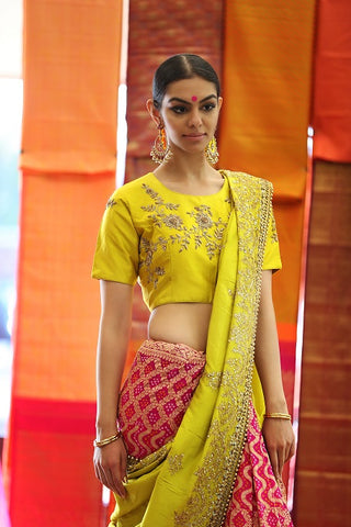 Yellow and Pink Tussar Georgette Banarasi Embroidered Sari