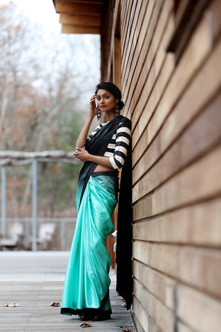 Green and Black Crepe Silk Saree