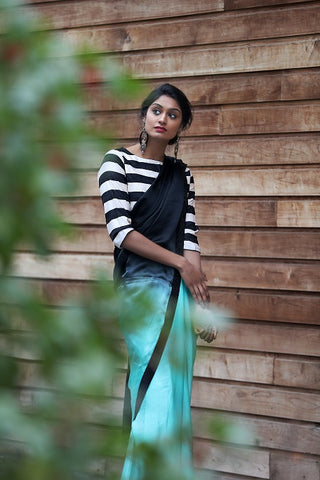 Green and Black Crepe Silk Saree with Striped Blouse