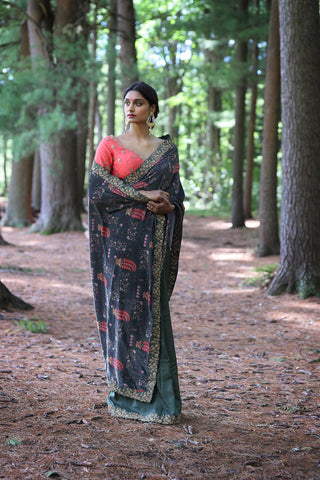 Printed and Embroidered Saree