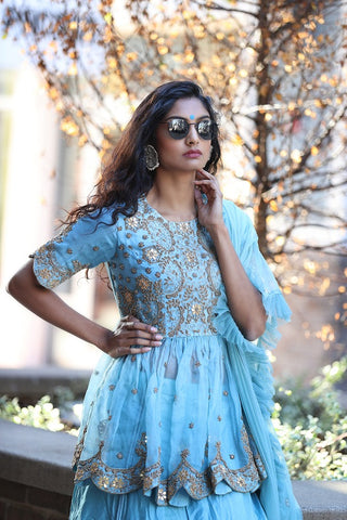 Powder Blue Embroidered Designer Skirt Set with Dupatta