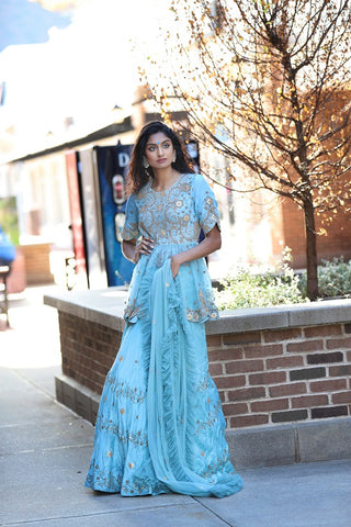 Powder Blue Embroidered Gota Patti Lehenga