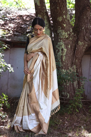 Gold and Off White Banarasi Saree