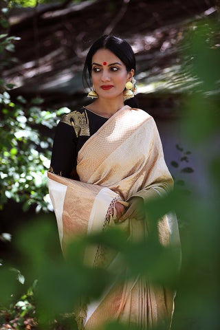 Gold and Off White Banarasi Sari with Banarasi Blouse